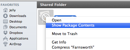 Show Package Contents in the Finder context menu.