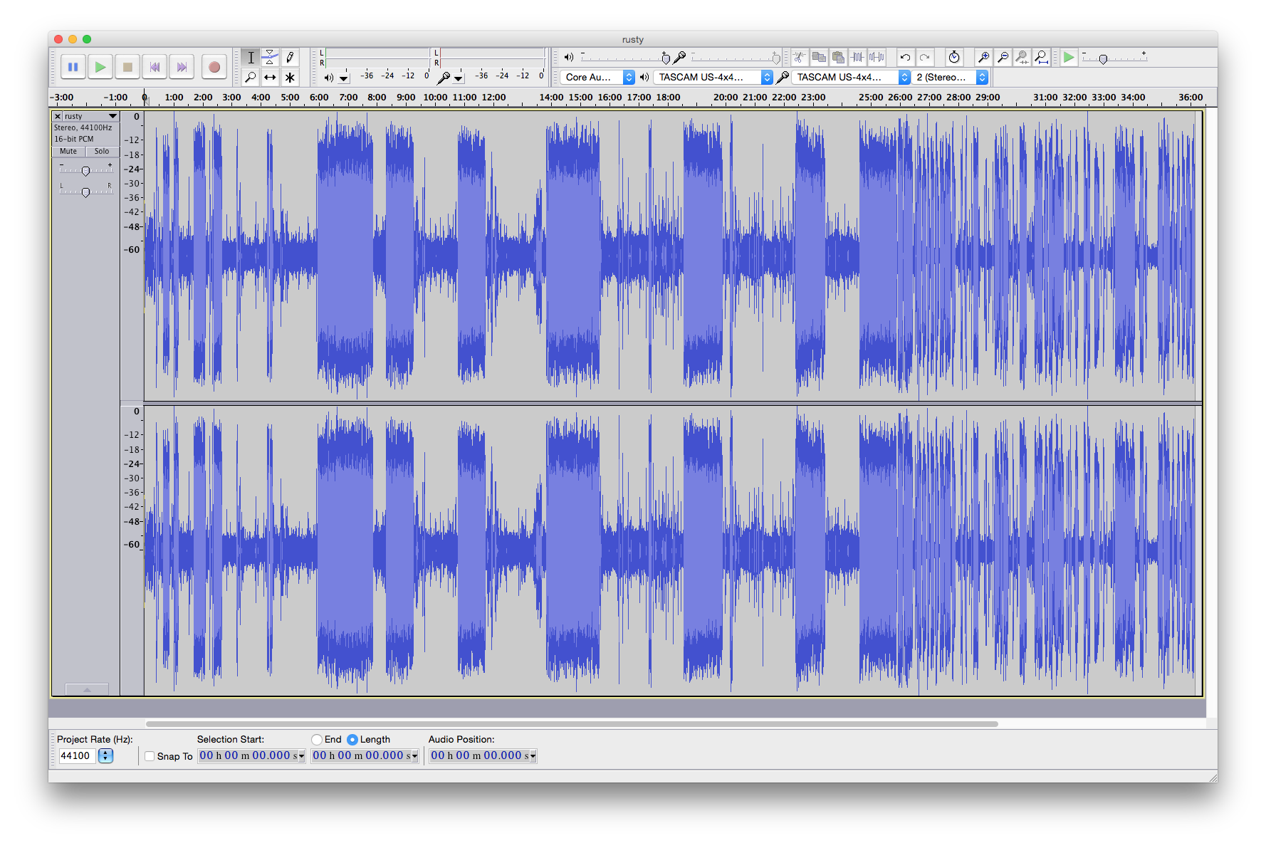 The unprocessed audio for Rusty on an upcoming episode of Topical