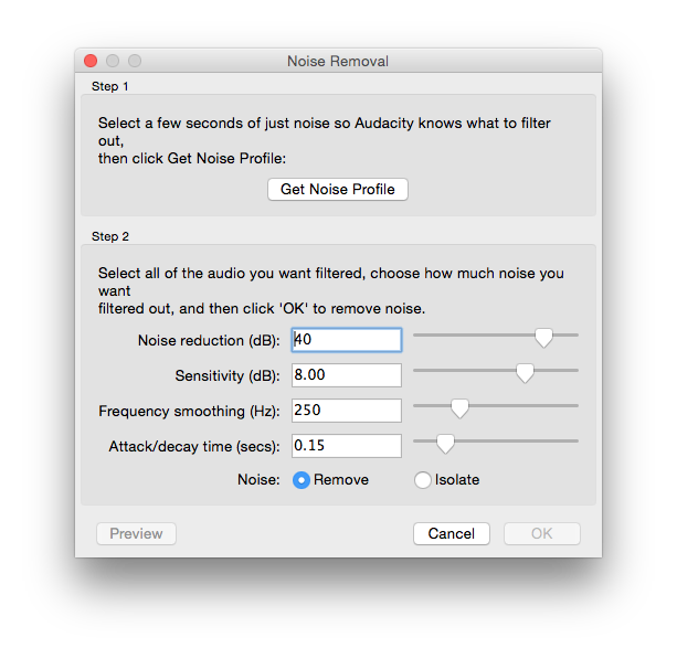 My Noise Removal settings dialog.