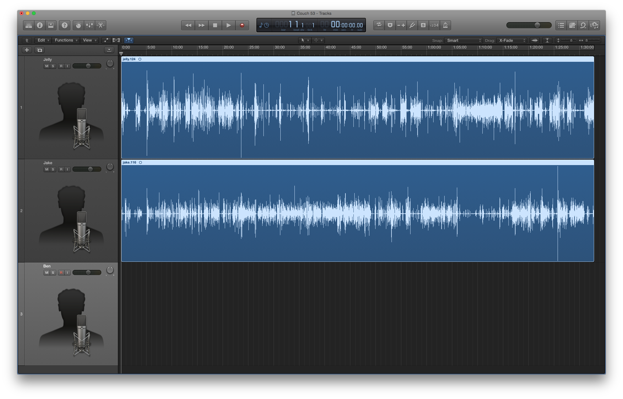 The unedited version of Mobile Couch 53 in Logic Pro X.