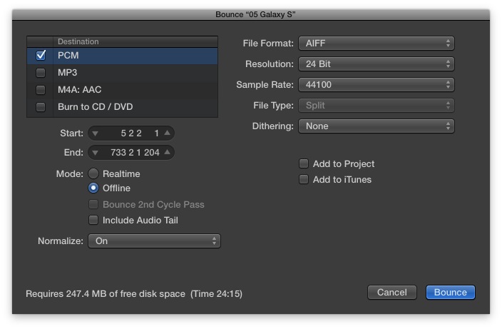 My settings for bouncing from Logic Pro X