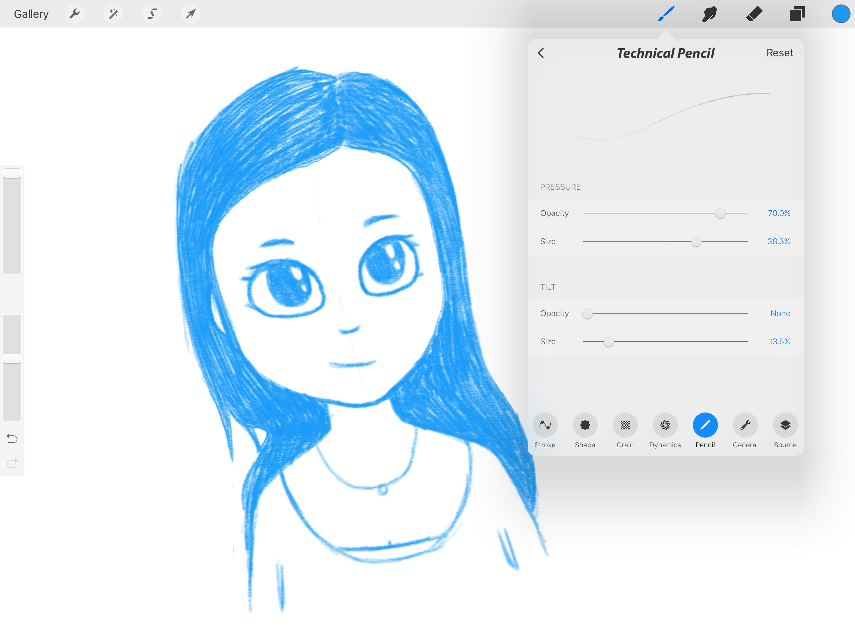 Procreate includes settings for the Pencil's pressure and tilt features.